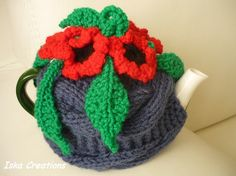 TeaPot Cozy, Knitted tea cosy, navy color , tea pot cozy with flowers , blue and red, Mothers day gift