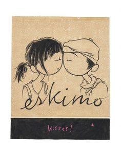 Eskimo Kisses by Kurt Halsey Kurt Halsey, Eskimo Kiss, Kiss Photo, All Things Cute, Lovely Things, Couple Cartoon, Cutest Thing Ever, Painted Rocks, Illustration Art