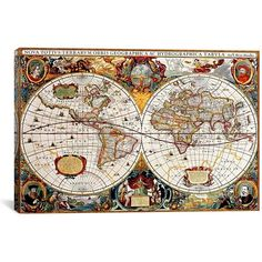 Antique Map of the World Canvas Art Print ($250) ❤ liked on Polyvore featuring home, home decor, wall art, antique map wall art, antique home decor, canvas home decor, antique wall art and stretched canvas