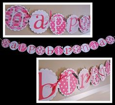 Cupcake banner- super cute! I can make this! Cute Banners, Happy Birthday Banners, Birthday Parties, Cupcake, Party Ideas, Babies, Unique Jewelry, Handmade Gifts, Crafts