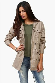 Beige jacket, with olive green shirt and levi pants. Love it.
