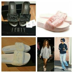 Rihanna x Fenty Puma Slides Pink These SOLD OUT EVERYWHERE! I was able to get a few pairs.   Rihanna X Fenty Puma Slides Black Sizes: 5.5, 7.5 Pink Sizes: 8.5 White Sizes: 5.5, 6.5  Message me with questions 484-504-912 eight Rihanna Shoes Sandals