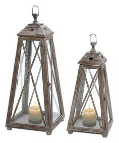 Loving this Wood & Glass Lantern Set on #zulily! #zulilyfinds