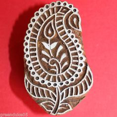 Hand Carved Paisley Leaf Indian Printing Block or Stamp for Paper or Fabric