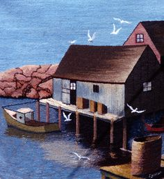 A scene at Peggys Cove Rug Hooking Designs, Rug Hooking Patterns, Nautical Rugs, Hook Punch, Hand Sewing Projects, Punch Needle Patterns, Rug Inspiration, Hand Hooked Rugs, Types Of Rugs