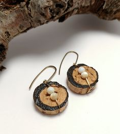 Recycled Wine Cork Earrings, Inspired Moon Phase Cork Jewelry, Unique Gift for Friends, Made to Order Wine Cork Art by JujusNature on Etsy