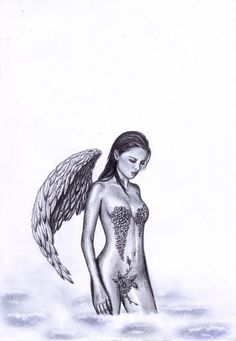 Free Angel Tattoo Flash Falling Or Fallen Design Tattoo