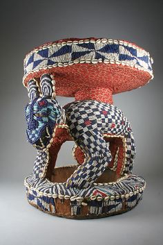 Prestige Stool: Leopard | 19th–20th century | Cameroon, Grassfields.  Bamileke or Bamum people | Wood, glass beads, cowrie shells, burlap, printed cotton cloth