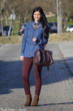 Zara Necklace, Pull & Bear Denim Shirt, Zara Bag, C&A Trousers, Zara Booties