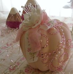 Shabby Chic Pumpkin embellished with pink pearls and gems / Tammy's Heart