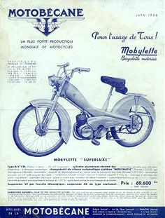 Motobecane Mini Motorbike, Classic Motorcycle, Illustrations And Posters, Cool Bikes, Motorbikes, Mopeds, Retro, Pinup, French