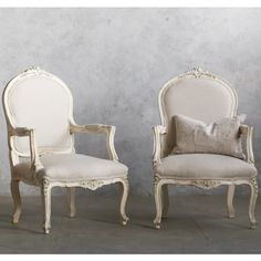 Lovely Pair of Vintage Armchairs in Creamy White Finish with Floral Carvings