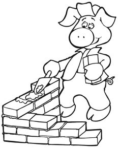 (^_^) The Three Little Pigs Coloring Page   Building With Bricks