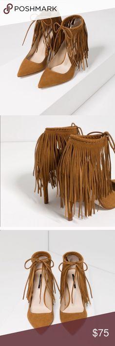 Authentic leather, Zara Fringe heels. NWT. Authentic leather fringe heels from Zara, NEW. Zara Shoes Heels