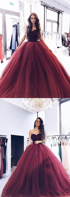 burgundy tulle long prom/evening dresses #prom #promdresses #promdress #eveningdress #eveningdresses