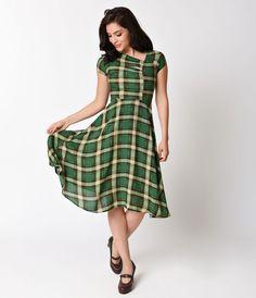 Unique Vintage Green Plaid Print Amelia Cap Sleeve Swing Dress