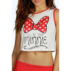 Disney Minnie Bow Crop Vest and Short Set ($2.86) ❤ liked on Polyvore featuring disney