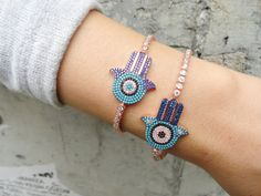 Silver hamsa bracelet sterling silver hamsa tennis by Handemadeit