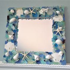 Artisan handmade sea glass mirror, shown in Ocean Mix, available in many colors and custom sizes. This beach glass mirror makes a perfect sea glass gift or beach gift! Sea Glass Decor, Sea Glass Crafts, Sea Glass Art, Seashell Projects, Seashell Crafts, Beach Crafts, Nautical Bathroom Decor, Coastal Decor, Beach Mirror