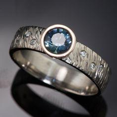Textured Engagement Ring Round Teal Montana Sapphire & Diamond | Nodeform