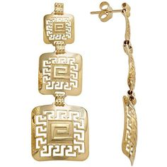14k Gold and Sterling Silver Greek Key Linear Drop Earrings ($88) ❤ liked on Polyvore featuring jewelry, earrings, yellow, 14 karat gold earrings, sterling silver earrings, 14k gold jewelry, yellow gold jewelry and gold jewelry