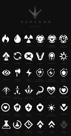 Paragon - iconography, ui & hud on behance Game Ui Design, Icon Design, Logo Design, Flat Design, Web Design, Game Gui, Game Icon, Behance Icon, Tf2 Meme