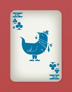 Jazzy Birds Playing Cards by Paul Bronaugh - King of Clubs | more here: http://playingcardcollector.net/2014/11/22/jazzy-birds-playing-cards-by-j-paul-bronaugh/