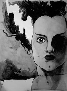 Tras mi entrega de mítico personaje Pinhead, de Hellraiser; el día de hoy preparé una #ilustración de la novia de Frankenstein, en un estilo similar > http://www.mepolus.com.ar/ilustracion-la-novia-de-frankenstein/ #mepol
