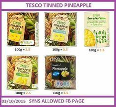 Tinned pineapple Slimming World Syn Values, Slimming World Syns, Slimming World Recipes, Slimming Workd, Tesco Food, Pineapple Slices, Snack Recipes, Healthy Eating, Chips