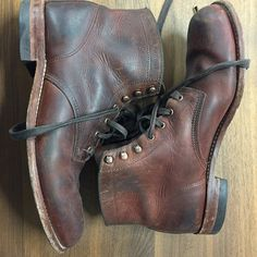 Wolverine 1000 Mile boots. I would really love a pair of these... I know Redwing makes a variation of this 'miners boot' style .