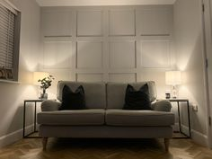 """Grid wall panelling in Farrow & Ball """"Ammonite"""" Living Room Modern, Home Living Room, Living Room Decor, Home Decor Bedroom, Bedroom Wall, Wooden Panelling, Wall Panelling, Farrow And Ball Living Room, Living Room Panelling"""