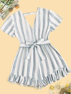 Belt: Yes Color: Multicolor Details: Backless, Belted, Ruffle Hem Fabric: Fabric has no stretch Fit Type: Regular Fit Length: Crop Lining: No C Girls Fashion Clothes, Teen Fashion Outfits, Mode Outfits, Outfits For Teens, Girl Fashion, Girl Outfits, Girl Clothing, Cute Summer Outfits, Cute Casual Outfits