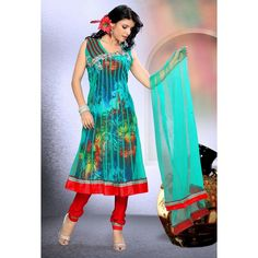 Ferozi with Red Anarkali Suit