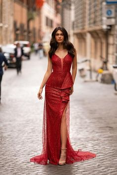 Red Formal/Prom Gown - Alamour The Label Long Mermaid Dress, Mermaid Dresses, Red Glitter Dress, Alamour The Label, Red Wedding Dresses, Satin Gown, Red Fashion, Dress Collection, Dresses For Sale