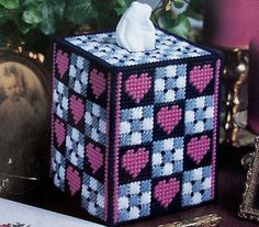 free plastic canvas tissue box cover patterns | OLD-FASHIONED RADIO, Plastic Canvas Pattern, BOUTIQUE TISSUE BOX COVER