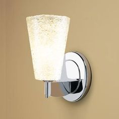 Bling II Chrome One-Light Wall Sconce with White Textured Glass