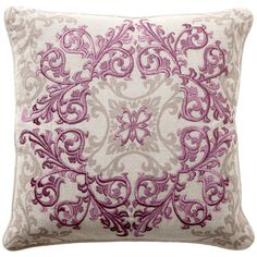 Enliven a room with modern chic as these decorative pillows add a dose of trendsetting color and inventive design. A rich and intricate medallion block pattern in a muted plum with grey accents showcases classically on a natural linen background. Sold as a pair, the down-filled pillows easily blend with other solids and patterns for an eclectic look on a sofa, chair or bed.