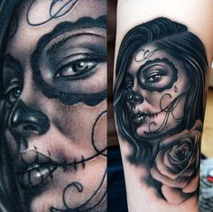 Black and Gray Tattoo - Woman Flower