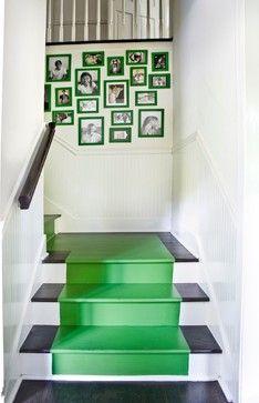 green stair runner & picture frames