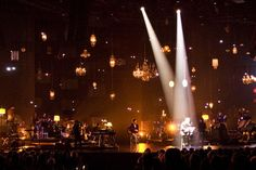 For a smaller stage, move lighting to sides. Possibly create/hang ornament chandelier between section pieces? Stage Lighting Design, Stage Set Design, Church Stage Design, Theatre Design, Dark Fantasy Art, Christmas Stage Design, Concert Lights, Stage Background, Stage Decorations