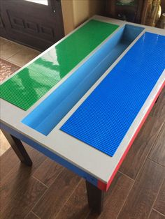 Lego table made from and MDF. Built in tray. Lego table made from and MDF. Built in tray. Lego Play Table, Lego Table Ikea, Kids Play Area, Kids Room, Diy Table, Table Tray, Lego Room, Lego Storage, Toy Rooms