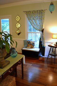 Captivating Cool Colors, Blues, Greens, Turquoise, Living Room, Corner, Window Seat Part 4