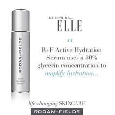 """Elle magazine recently said """"We Dew"""" and featured R+F Active Hydration Serum™ on its April """"Beauty It List."""" Highlighting the product's 30-percent glycerin concentration, Elle praised our newest innovation for its ability to """"amplify hydration"""" and act as """"a booster to products applied on top."""""""