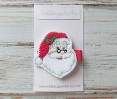 Santa Hair Clip Christmas Hair Clip Santa in by DiddlebugsAndMe