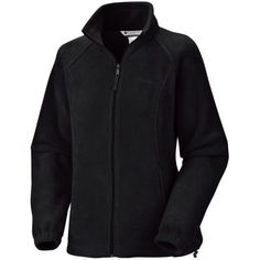 Columbia  Black Petite Womens Benton Springs Fleece Full Zip Jacket ($35) ❤ liked on Polyvore featuring black, petite and columbia