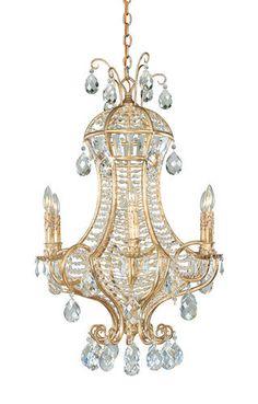 Fredrick Ramond FR49371 Italian Gold Art Deco / Retro Six Light Chandelier