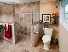 Walk-in Shower Master Bathroom Design with barrier free area