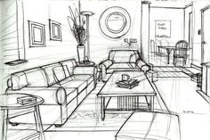 One Point Perspective Drawing Of A Living Room Perspective gallery Drawing Interior, Interior Design Sketches, Architecture Sketches, Sketch Design, Classical Architecture, Landscape Architecture, One Point Perspective Room, Room Perspective Drawing, Perspective Sketch