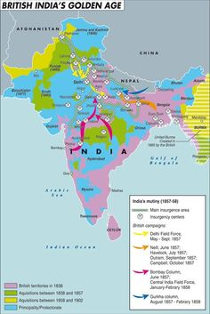 A map of India before partition in 1947  British Victorian