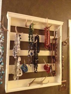 Shabby Chic Deer Antler Jewelry Holder by hosshammock on Etsy, $100.00
